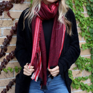 Long Red Striped Scarf