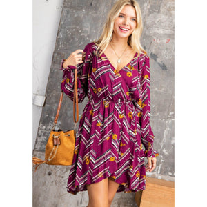Wine Floral Hi-Lo Dress