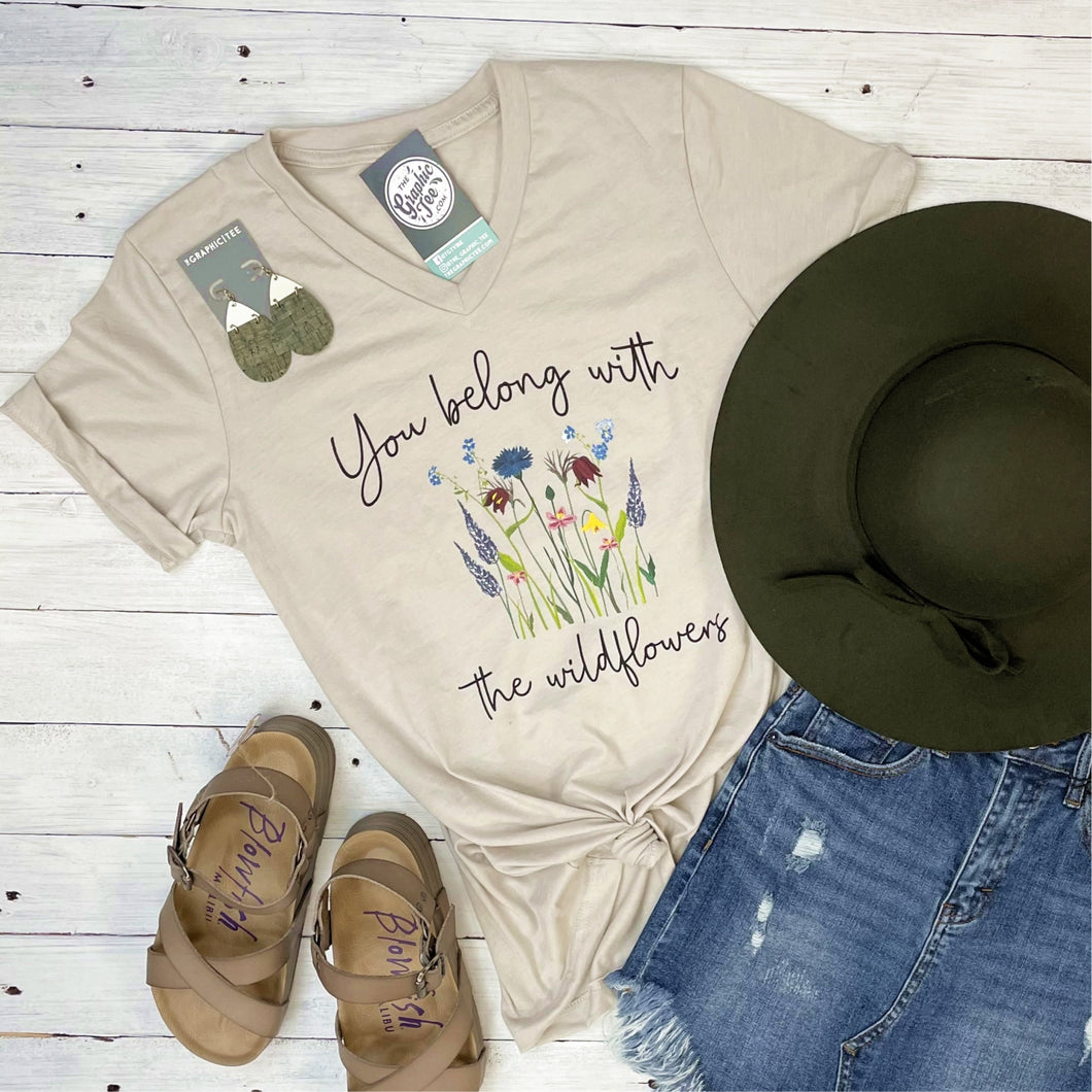 You Belong with the Wildflowers - V-Neck Tee