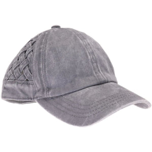 CC Basket Woven Criss Cross High Ponytail Ball Cap