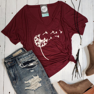 Dandelion Ladies V Neck Relaxed Tee