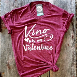 Vino is My Valentine - Maroon Marble V-Neck Tee