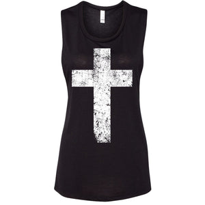 Cross - Ladies Flowy Tank with White Print