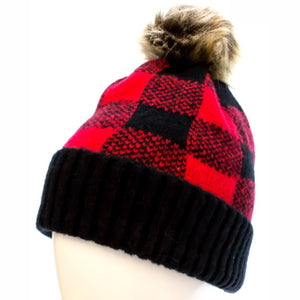 Black and Red Buffalo Plaid Beanie with Pom