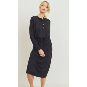 Long Sleeve Drawstring Henley Dress