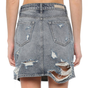 Cello High Rise Distressed Skirt - Dark Wash