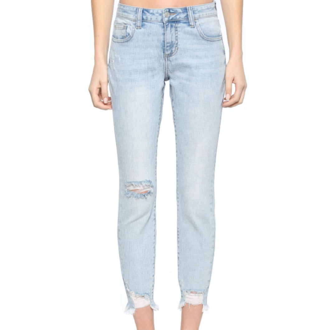 Cello Light Distressed Crop Skinny with Frayed Hem Jean