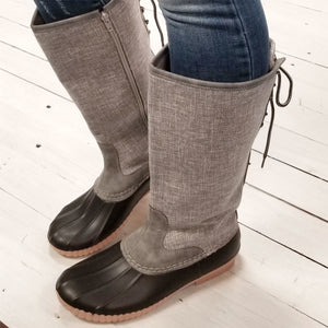Tall Grey Woven Duck Boots