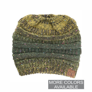 CC Flecked Ombre Ponytail Beanie