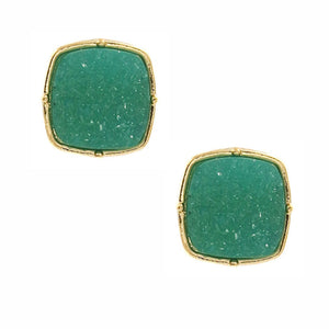 Square Druzy Stud Earrings