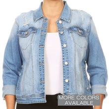 Load image into Gallery viewer, Ladies Plus Size Distressed Jean Jacket