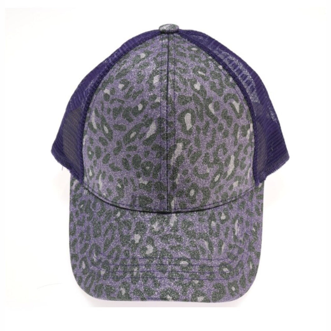 CC Leopard Glitter High Ponytail Ball Cap