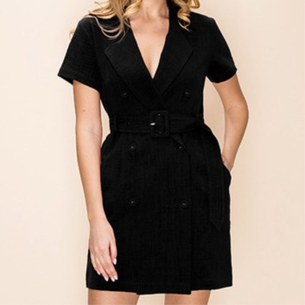 Black Short Sleeve Belted Dress