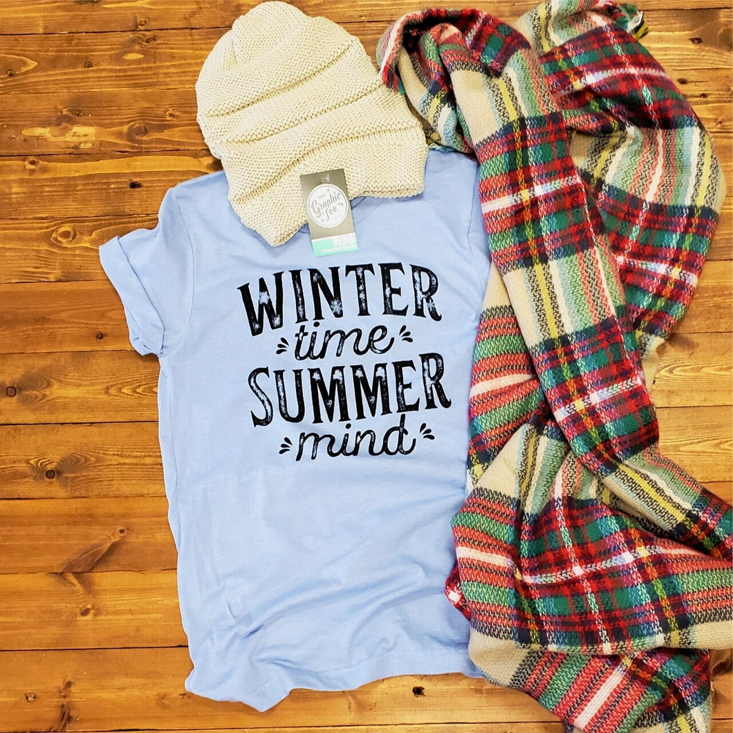Winter Time, Summer Mind - Heather Blue Tee