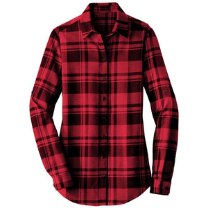 Long Red-Black Round Hem Flannel