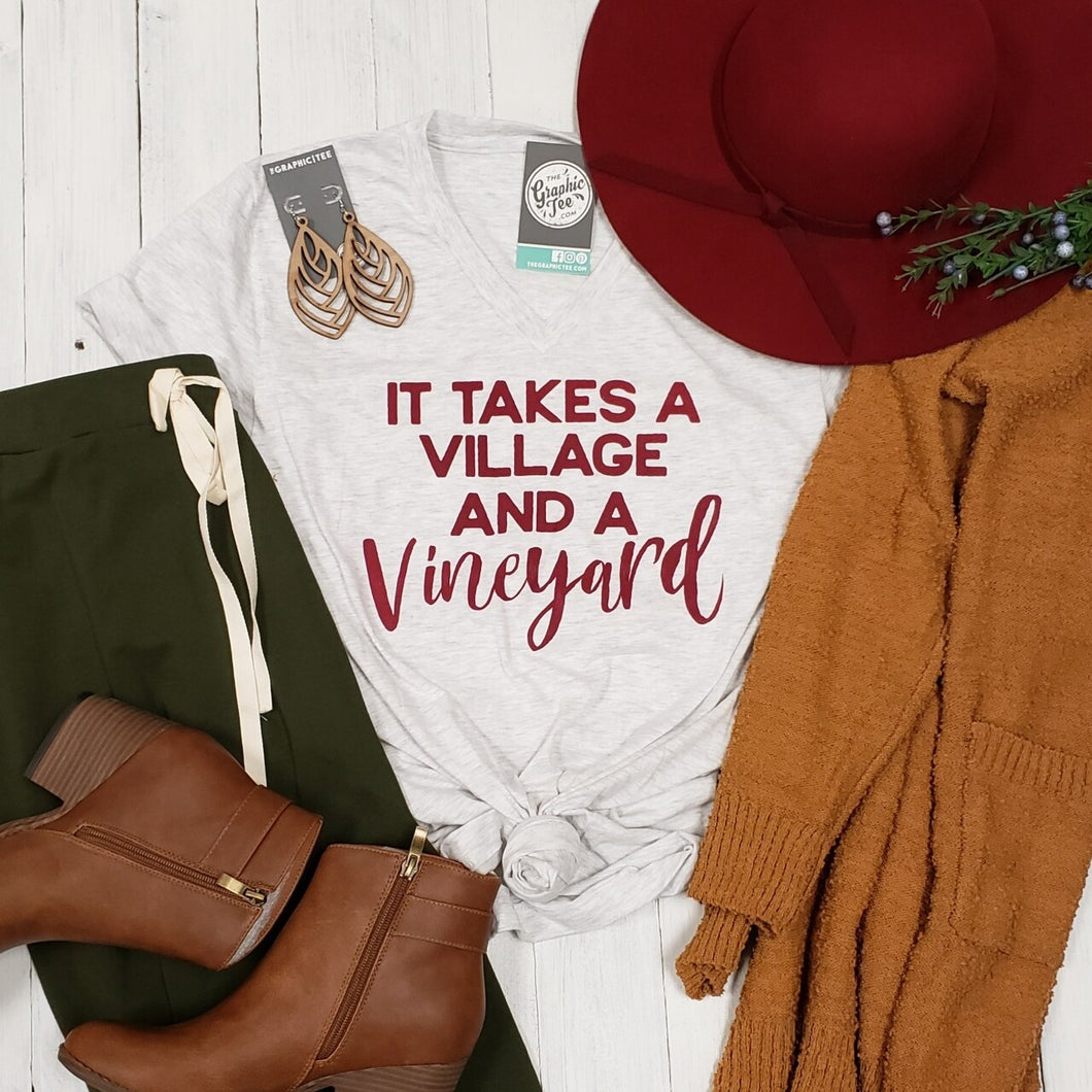 It Takes a Village and a Vineyard Unisex Vneck Tee
