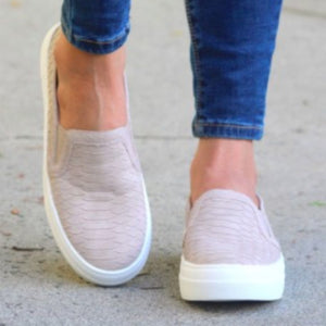 Taupe Snake Skin Slip On Sneakers