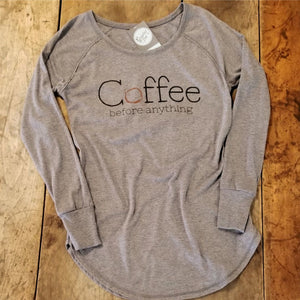 Coffee Before Anything - Ladies Long Sleeve Tunic