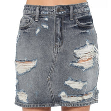 Load image into Gallery viewer, Cello High Rise Distressed Skirt - Dark Wash