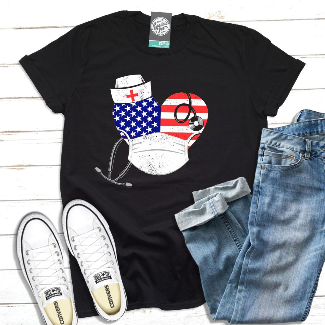 USA Nurse Heart - Unisex Tee