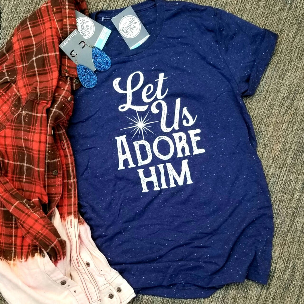 Let Us Adore Him - Navy Speckled Tee