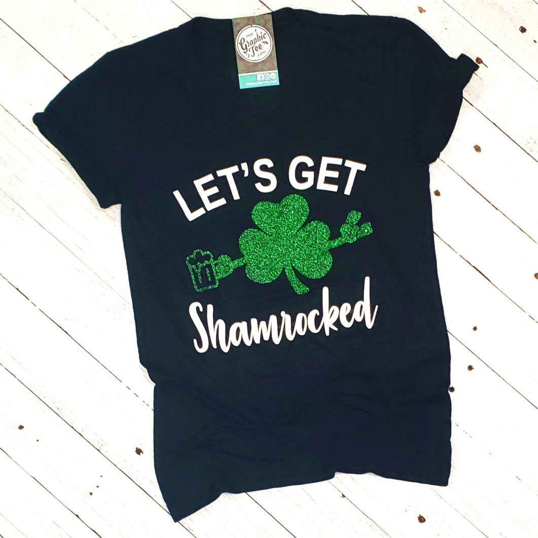 Let's Get Shamrocked - Black V-Neck Tee