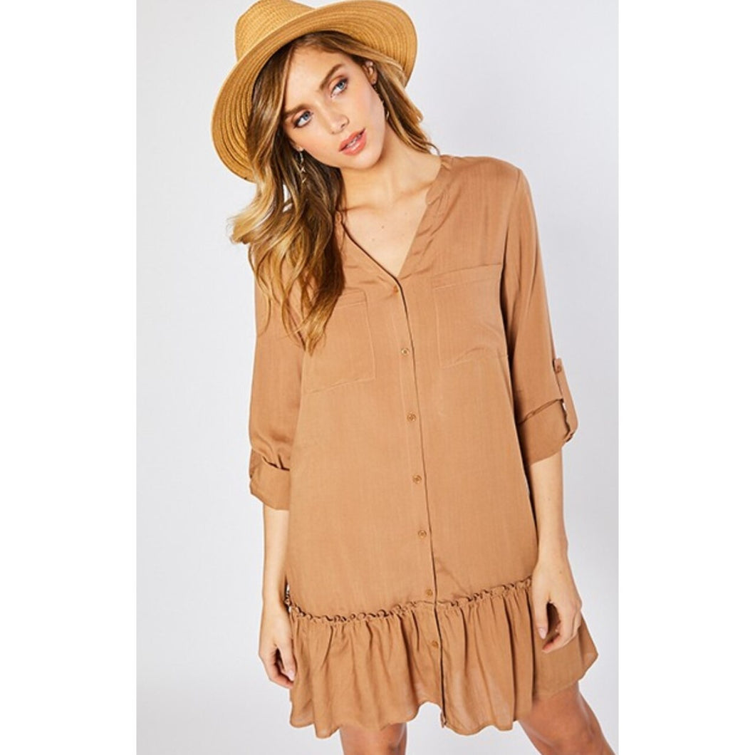 Sweet and Chic Ruffle Shirt Dress