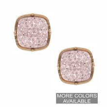 Load image into Gallery viewer, Square Druzy Stud Earrings