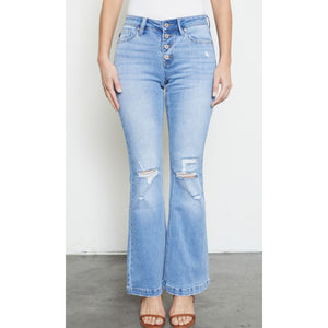 KanCan Mid Rise Distressed Flare