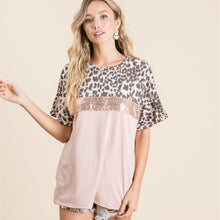 Load image into Gallery viewer, Sequin and Leopard Ruffle Sleeve Top