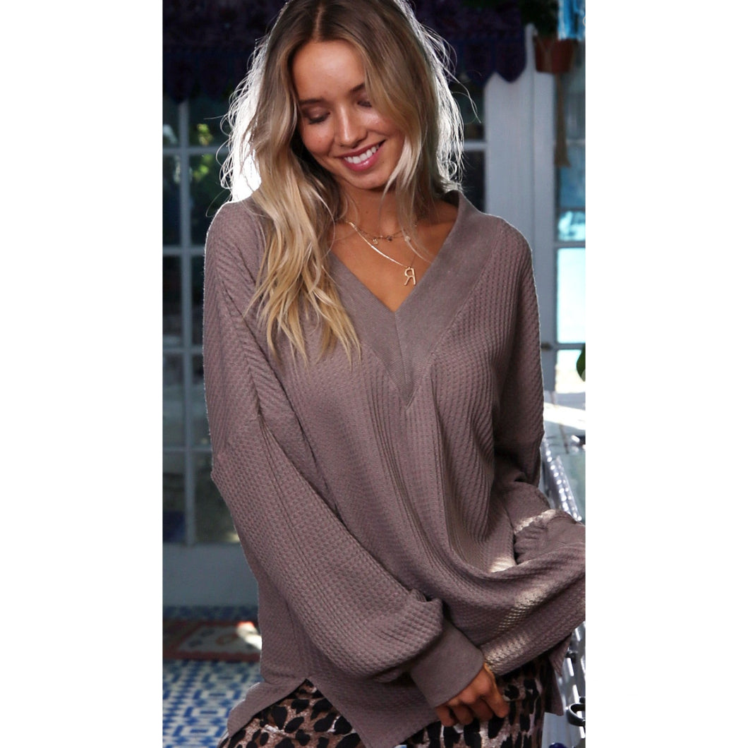 Deep V Waffle Knit Long Sleeve Top
