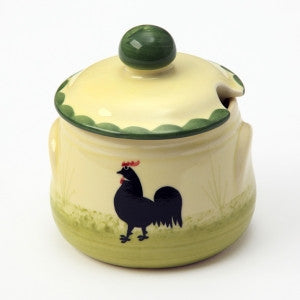 Zeller Keramik Cocks & Hens Jam Pot with Lid