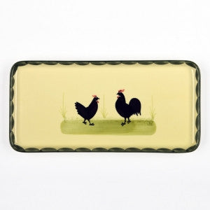 Zeller Cocks & Hens Rectangular Cake Plate 29x14cm