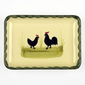 Zeller Keramik Cocks & Hens Rectangular Platter