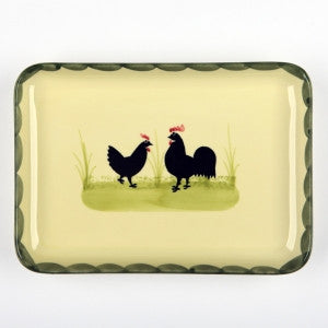 Zeller Cocks & Hens Rectangular Platter 22x15cm