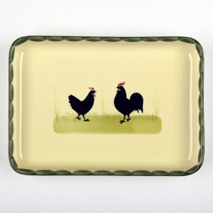 Zeller Cocks & Hens Rectangular Platter 27x19cm