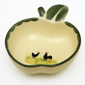 Zeller Keramik Cocks & Hens Small Bowl Apple Shape