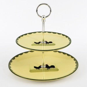 Zeller Keramik Cocks & Hens Two Tier Cake Stand