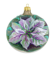 Glass Purple Poinsettia Ornament