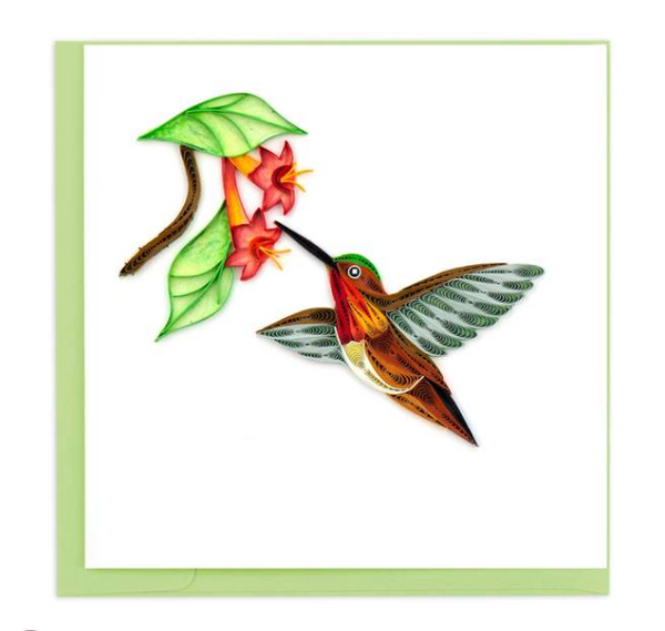 Rufous Hummingbird Quilling Card