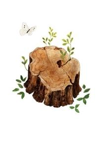 Tree Stump and Butterfly