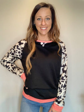 Leopard Sleeve Black Pullover - RTS