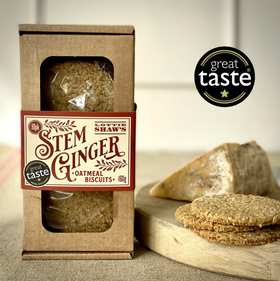 Stem Ginger Savoury Oatmeal Biscuit Box 160g Lottie Shaws