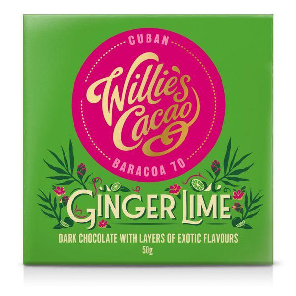 Willie's Cacao Ginger & Lime 70% Dark Chocolate Bar 50g - Best British Produce