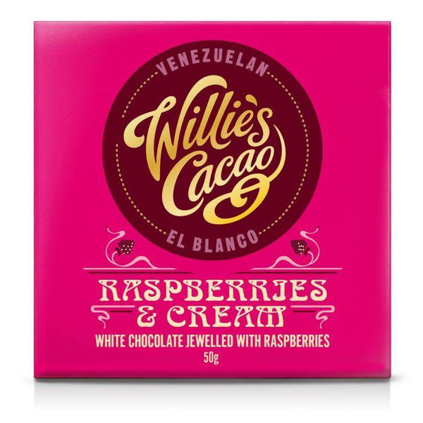 Willie's Cacao Raspberries & Cream White Chocolate Bar 50g - Best British Produce