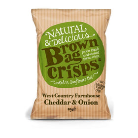 West Country Cheddar & Onion Crisps 40g Brown Bag Crisps