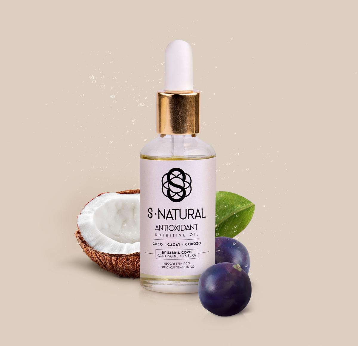 S Natural Oil, Antioxidant nutritive oil, Corozo, Cacay, Coconut, Exotic Ingredients, Colombia, Amazon rainforest, Natural Beauty, Clean Beauty, Organic Skin Care, Natural beauty, Antioxidants, Serum, Exotic ingredients, Colombian product, Sabina Covo.