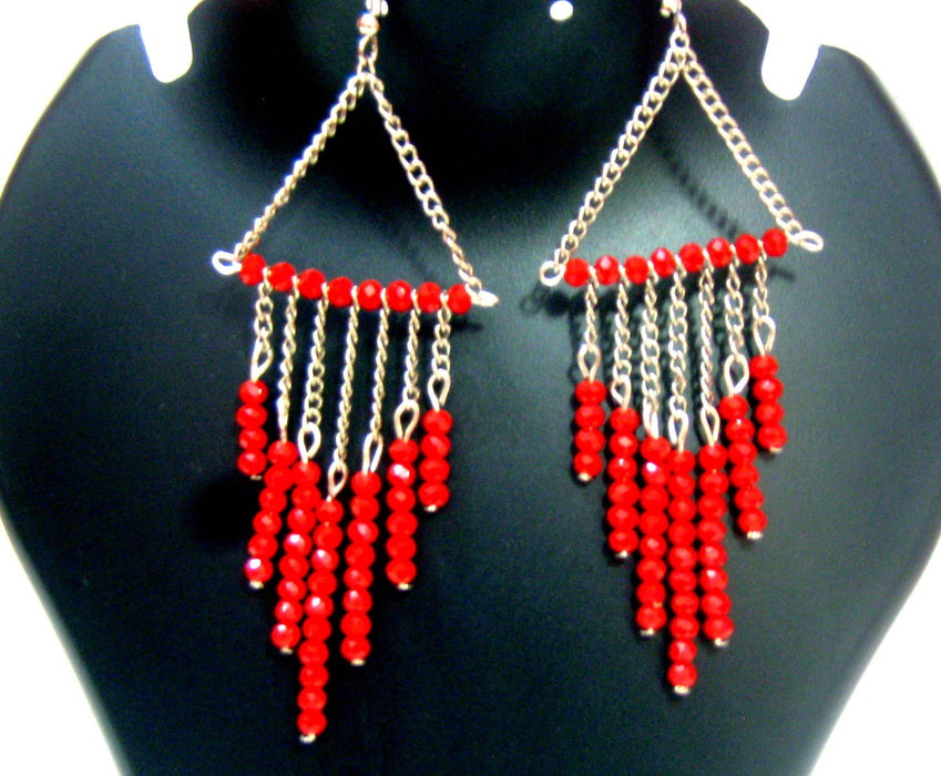 Beads N Threads - Sparkling Red Crystals with Oxidised Chain Long Earrings
