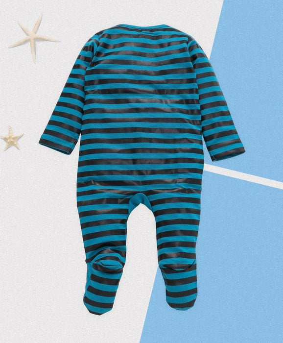 Royal Brats Full Bodysuit - Blue Base with Strip and Banana Print