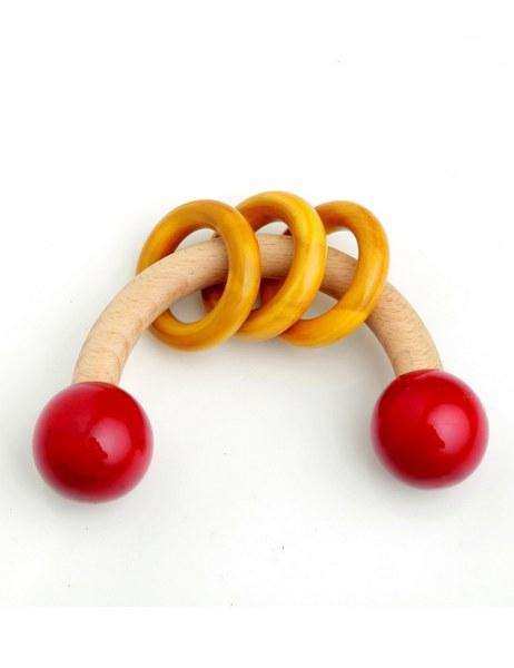 Wooden rattle- curvy with the rings
